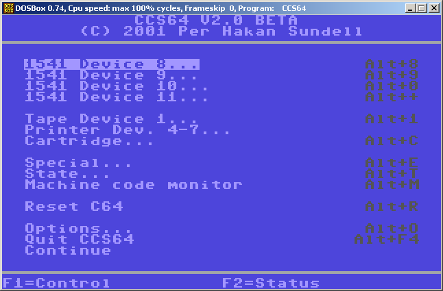 CCS64 loading a image into a device D64,Tap